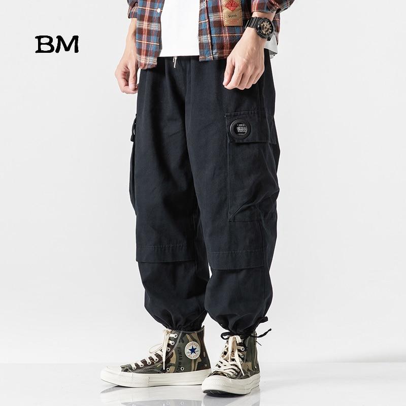 2019 Japanese Harajuku Loose Baggy Pants Men Hip Hop Harem Pants Streetwear Modis Joggers Army Green Cargo Pants Black Trousers