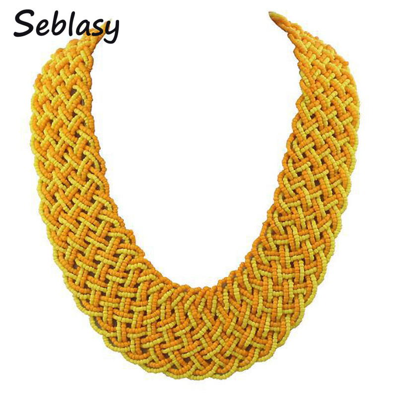 Seblasy Maxi Big Statement Knotted Braided Beads Choker Necklaces for Women Simple Style Birthday Party Jewelry Collier