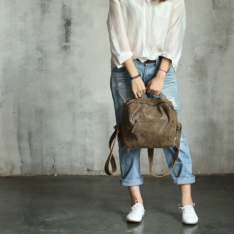 Vendange original female bag Vintage leather backpack female simple box Fashion leather bag 2357 vendange original handmade simple leisure female genuine cowleather knapsack multifunctional knapsack2305