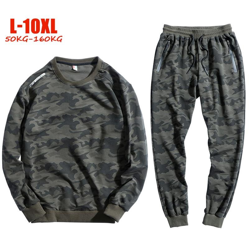 2019 Oversized 8XL 9XL 10XL tracksuit men Casual Camouflage mens sports suits Plus size L 10XL Cotton sweat suits men
