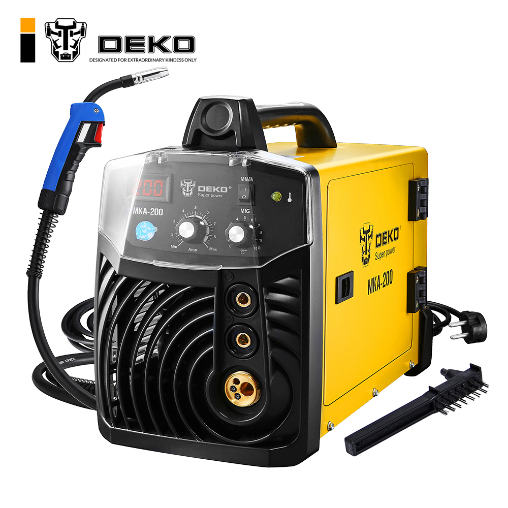 DEKO MKA-200 200A 4.9KVA IP21S Inverter Arc MIG 2 IN 1 Electric Welding Machine w/ Replaceable Welding Gun MMA Welder