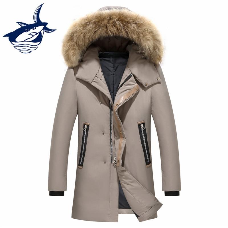 Casual male   down   jacket fur collar 90% white duck   down   jacket men slim fit thick warm long   down     coat   Russia winter men jackets