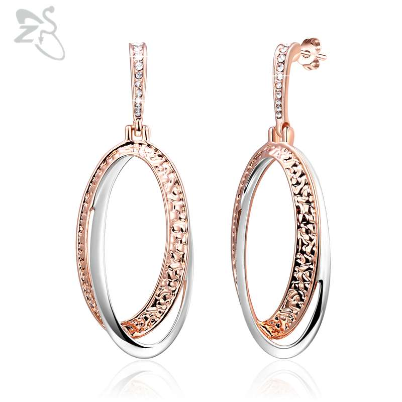 ZS Rose Gold Dangle Earrings for Women Vintage Round Crystal Dangle Earrings 925 Sterling Silver ...