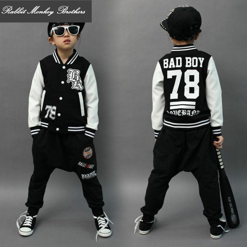 Children jazz clothing Boys girls Unisex Black hip-hop style baseball sport clothing Bad Boy Cotton Sweater baseball uniform