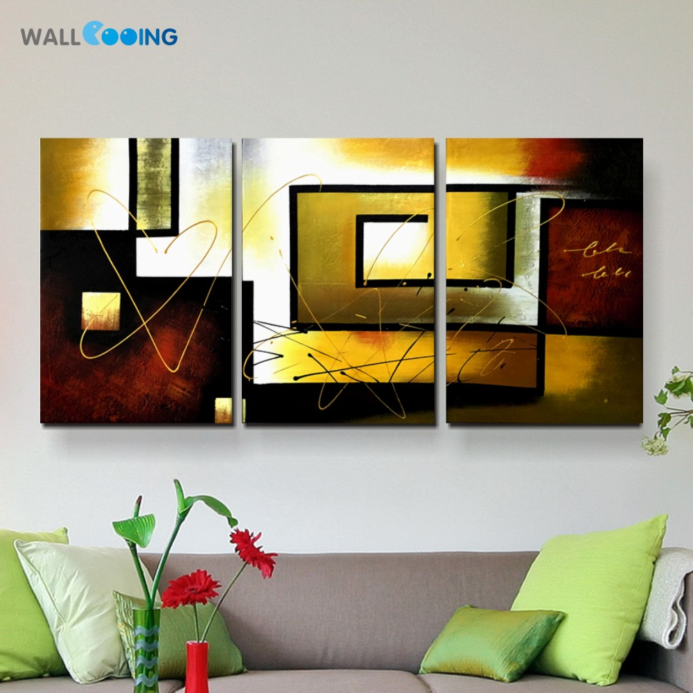 3 piece hand painted canvas oil paintings Modern abstract Home decorating pictures Living Room ready to hang wall art(no Frame)