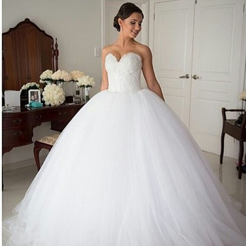 Ball Gown Wedding Dresses 2017 Sweetheart Neckline Beaded Lace Tulle Ruffles Brand Backless Plus Size Dress In From