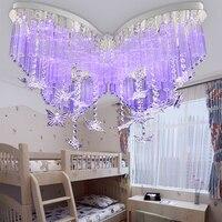 Детский Светильник бабочка светодио дный Кристалл Потолочные светильники спальня лампа девушка потолочный светильник изделие потолочный