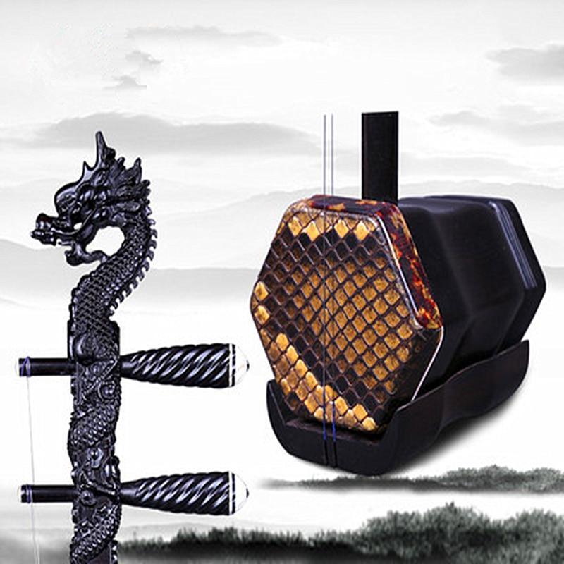 Chinese Erhu Folk String Instrument Huqin Strik Muziek ebony Dragon Head Musical Instruments Professional Music Erhu Accessories wuyue erhu chinese musical instrument 2 string erhu round pole hexagonal shape with bow