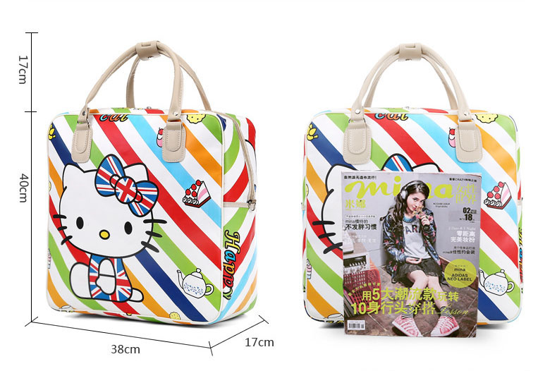 f6f5eb550e Kawaii Cartoon Foldable Girls Tote Duffle Bags Hand PU Leather Traveling Bag  Hello Kitty Women Luggage Cute Duffel Handbag
