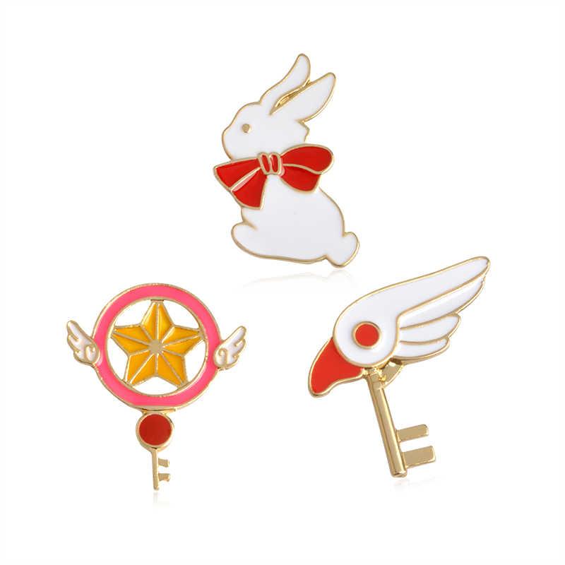"""Dễ thương của Nhật Bản Anime Thiết Kế """"Loạt Các Sakura"""" Ma Thuật Cổ Điển Sao Dính Chim của Head Key Mô Hình Thỏ Thời Trang Trâm đồ trang sức"""