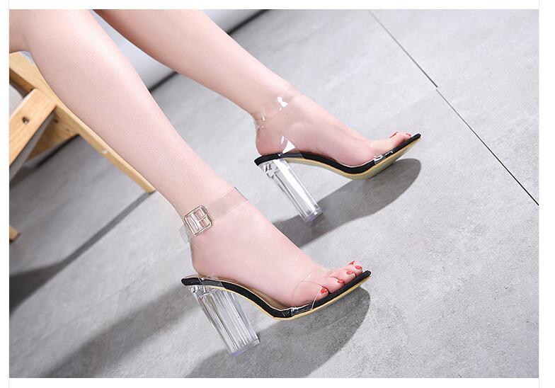 HTB1MqVdoJzJ8KJjSspkq6zF7VXak Aneikeh 2020 PVC Jelly Sandals Crystal Open Toed High Heels Women Transparent Heel Sandals Slippers Pumps 11CM Big Size 41 42