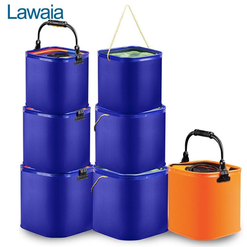 Seau à poisson pliant Lawaia Portable sacs à engrenages de pêche EVA seaux bleu Orange seau à corde en Nylon avec poignée 7L 10L