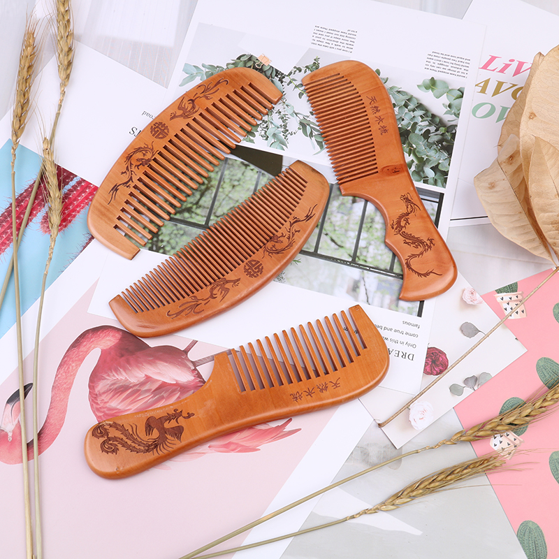 4 Style Natural Close Teeth Anti-static Hair Combs Massage Wooden Head Pain Relief Massager Combs Brushes Peach Wood Comb