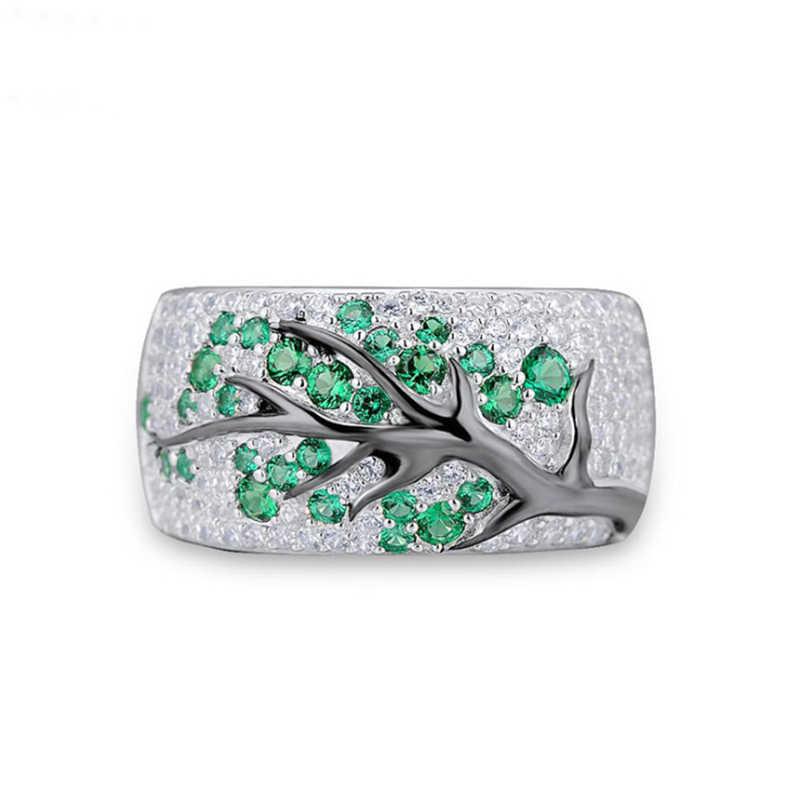 Tisonliz แหวนเงิน 4 สีดอกไม้คริสตัลสาขาแหวนแต่งงานแหวนแหวนสัญญาหมั้นเครื่องประดับ Bijoux