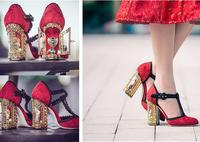 Luxury gold open door diamond art high heel woman T strap shoes metal stitch diamond heel woman shoes real photo red back color
