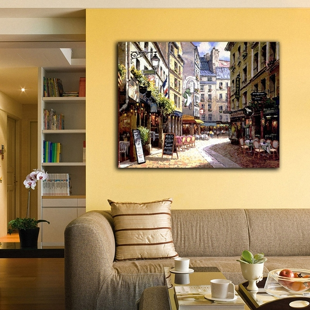 Europe Street Coffee Shop Classic Architecture Wall Paintings Canvas ...