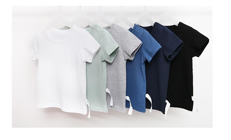 VIDMID Kids T-shirt Tops Baby Boy Cotton Short Sleeve Tops girls Children Cartoon basic color clothes boys girls tees 4018 29 3