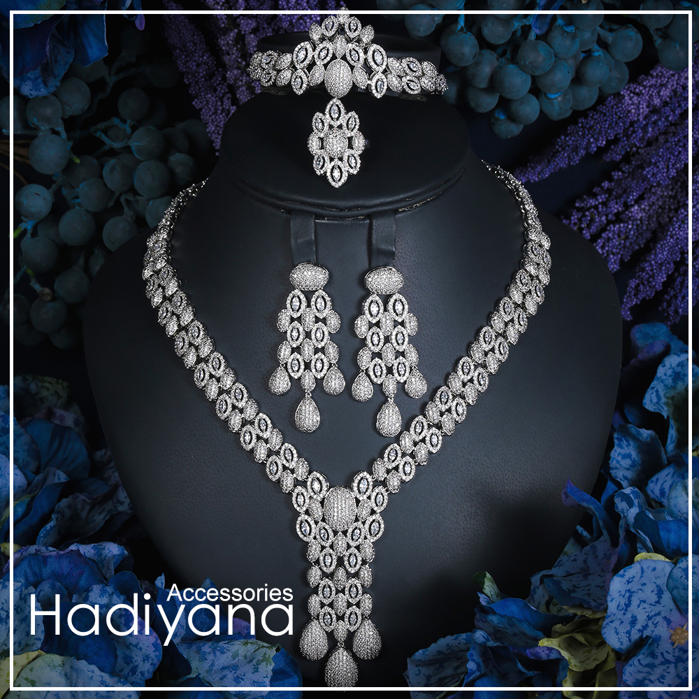 Hadiyana Luxury Sparkling Cubic Zircon Crystal  4pcs Jewelry Bridal Big Set For Women Wedding CN160Hadiyana Luxury Sparkling Cubic Zircon Crystal  4pcs Jewelry Bridal Big Set For Women Wedding CN160