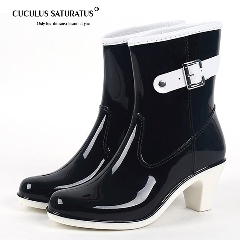купить Cuculus 2018 Buckle Ladies Rain Boots High Heel Waterproof Ankle Rubber Plus Size Woman Short Rain Boots Black Beige White 1290