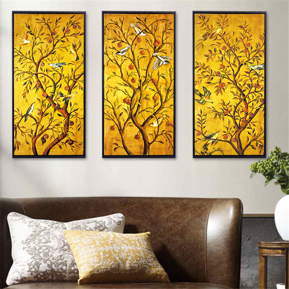 HAOCHU Branch Rattan Bird Plant Wall Art Canvas Painting Picture ...
