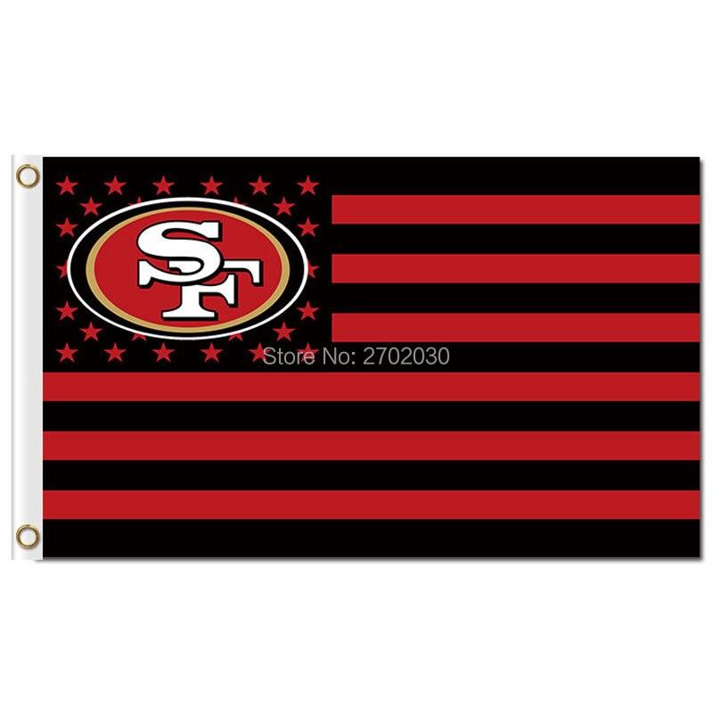 San Francisco 49ers Logo Flagge Mit Streifen 3ftx5ft Banner 100D Polyester Flagge Metall Ösen 90x150 cm San Francisco 49ers Fahnen
