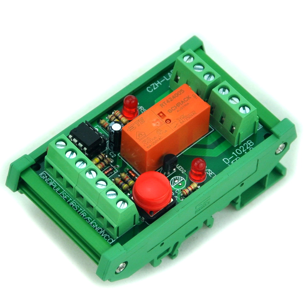 DIN Rail Momentary-Switch/Pulse-Signal Control Latching DPDT Relay Module, 5V