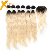 X TRESS Peruvian Natural Wave Human Hair Weave 6 Bundles With Closure Ombre Black Blonde 613 Color Non Remy Hair Weft Extensions