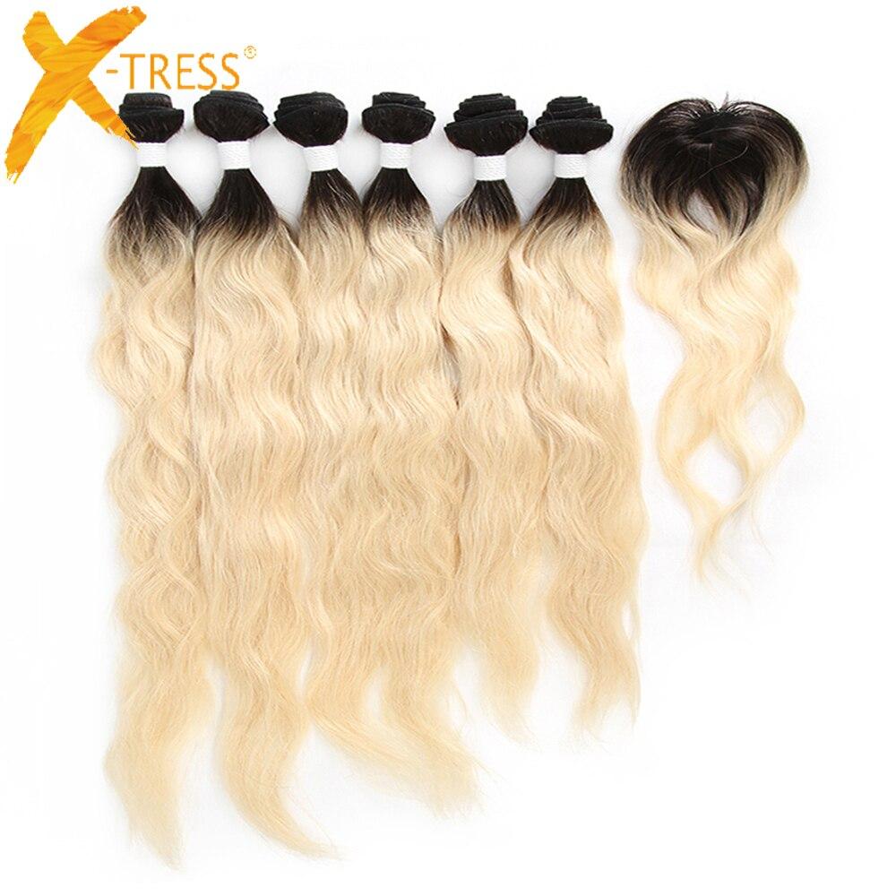 X-TRESS péruvien vague naturelle cheveux humains armure 6 faisceaux avec fermeture Ombre noir blond 613 couleur non-remy cheveux trame Extensions