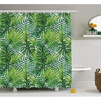 Vixm Leaf Shower Curtain Tropical Exotic Banana Forest Palm Tree Leaves Watercolor Design Image Fabric Bath Curtains