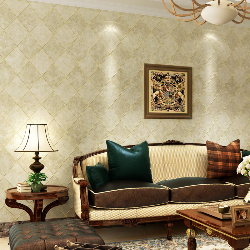 beibehang papel de parede American country bronzing diamond lattice non-woven wallpaper bedroom living room dining backdrop