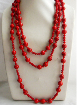 "CBN503  Beautiful  82"" 12mm Red Round  Faceted Crystal Necklace"