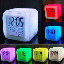 LED Alarm Colock 7 Colors Changing Digital Desk Gadget Digital Alarm Thermometer Night Glowing Cube led Clock Home TSLM1 BTZ1(China)