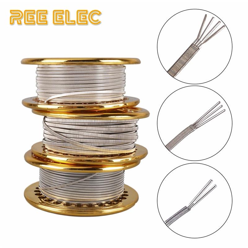 REE ELEC 5M/Roll Alien Clapton Nichrome Wire RDA RTA Atomizer Prebuilt Coil Tool Vape Accessories Ni80 Clapton Heating Wires