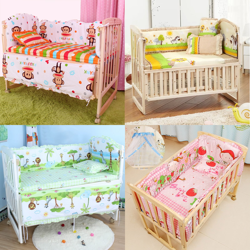5pcs baby crib bedding set kids bedding set 100x58cm. Black Bedroom Furniture Sets. Home Design Ideas