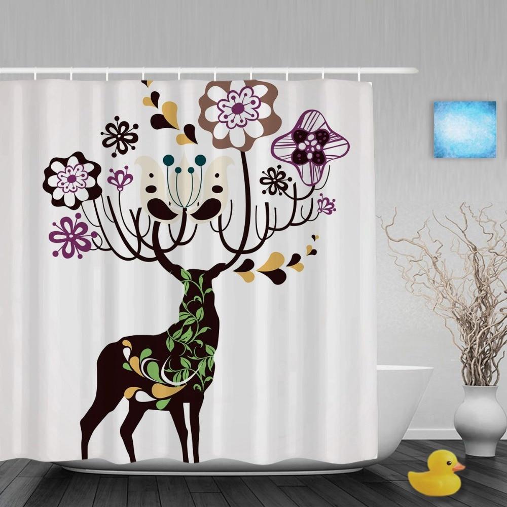 christmas decor reindeer bathroom bathroom shower curtains cute christmas shower. Black Bedroom Furniture Sets. Home Design Ideas