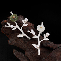 Real Pure 925 Sterling Silver High Quality Brooch Jewelry Green Natural Stone Plum Branch Brooches For Women Jewelery