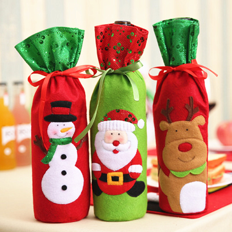 Marry Christmas Wine Bag Santa/Snowman/Reindeer Non-woven Gift Bags Happy New Year Xmas Decoration Navidad 2018 Party Favors ...