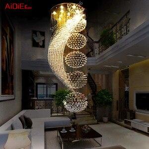 Image 4 - ארוך כפול מדרגות מודרני נברשת מנורת LED קריסטל llights אופנתי מלון פרויקט וילה אולם תאורת השעיה חוט