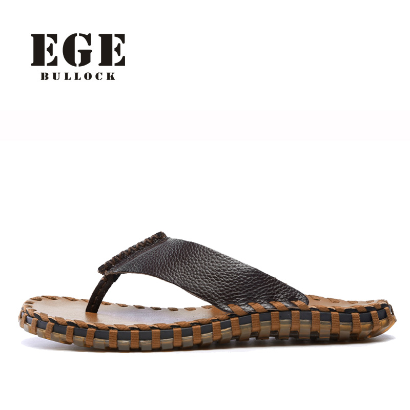 Men Sandals Genuine Leather New Arrival Casual Shoes EGE Brand High Quality Summer Shoes Handmade Sewing Beach Slipper for Men