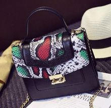 Stitching serpentine hit color portable buckle chain bag, ladies fashion new shoulder diagonal crossed bag