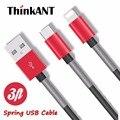 Cabo usb primavera para iphone 1 m/3ft usb cabo do carregador de sincronização de dados de alta velocidade cabo micro usb para iphone 7 6 5 5s para ipad mini 2 3