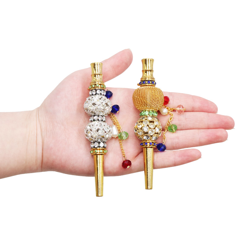 1pc Fashion Handmade Inlaid Jewelry Alloy Hookah Mouth Tips Shisha Chicha Narguile Filter Tip Hookah Mouthpiece