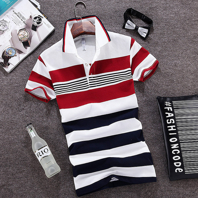2016 Summer New Fashion Stripe Camisas Polo Masculino Slim Turn Down Collar Cotton Polo Shirts Short Sleeve