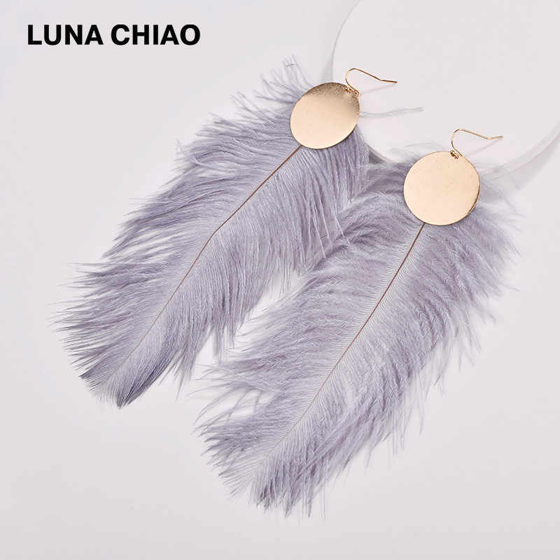 LUNA CHIAO 2018 Fall Winter Designer Inspired Genuine Ostrich Big Dyed Feather Disc Plates Drop Earrings for Women
