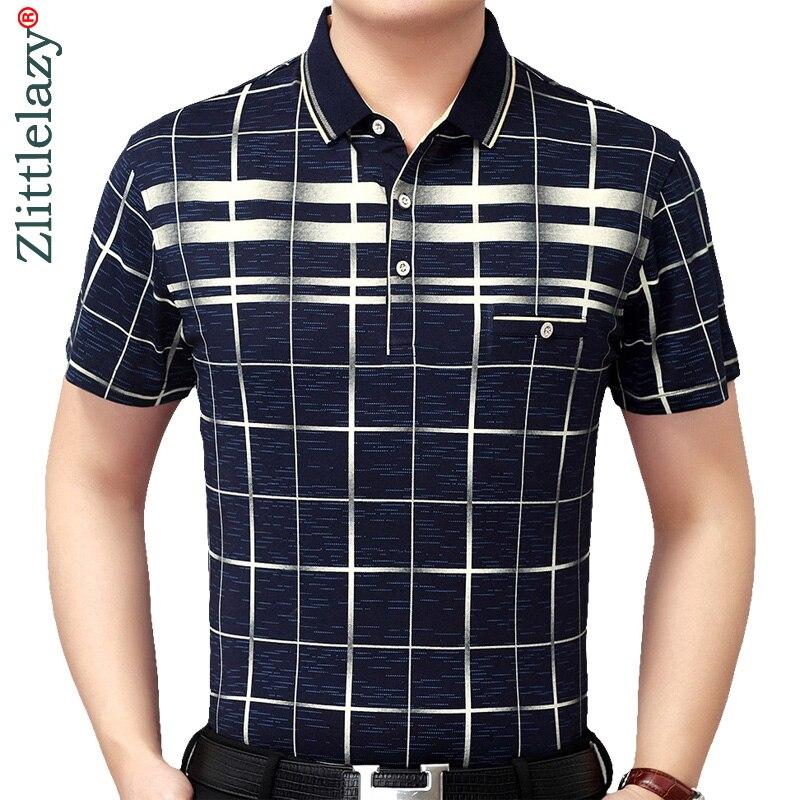 New Summer Polo Shirt Men Short Sleeve Polos Shirts Plaid Slim Fit Mens Pol Clothes Dress Bodybuilding Streetwear Poloshirt 1780