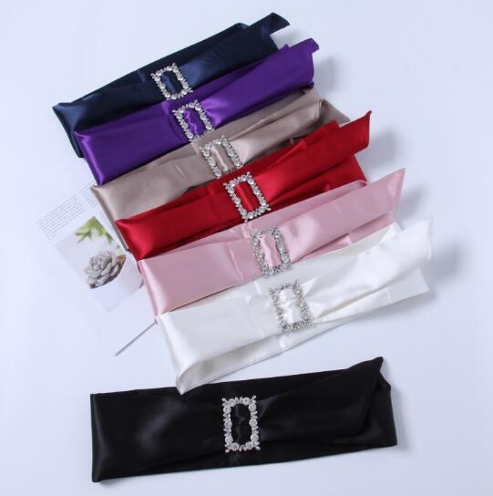 Women's Runway Fashion Diamonds Buckle Satin Cummerbunds Female Dress Corsets Waistband Belts Decoration Wide Belt R1463