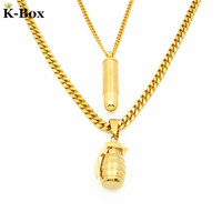 Couples Necklaces Set Gold Micro Bullet And Grenade Pendant Combo Set Necklace Chain Hip Hop