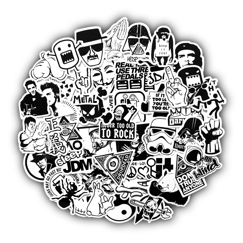 50 Pcs Black And White Random Cartoon PVC Toys Cool Stickers For Kids Children Luggage Notebook Laptop Sticker Bomb Car-Styling