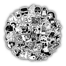 50 шт. черный и белый случайный мультфильм ПВХ игрушки крутая наклейка s для детей детский Багаж Ноутбук наклейка бомба автомобиль-Стайлинг