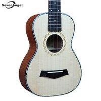SevenAngel 26 inç Katı Üst Sadece Ukulele 4 Dize Hawai Gitar Ladin paneli Ingman Tenor Ukelele Akustik gitar 17 Fret
